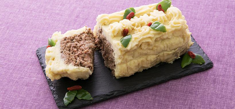 ミートローフのケーキ仕立て